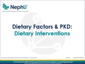 Dietary Factors & PKD: Dietary Interventions