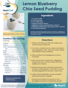 Kitchen Creations for Kidney Health: Lemon Blueberry Chia Seed Pudding