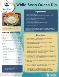 Kitchen Creations for Kidney Health: White Bean Queso Dip